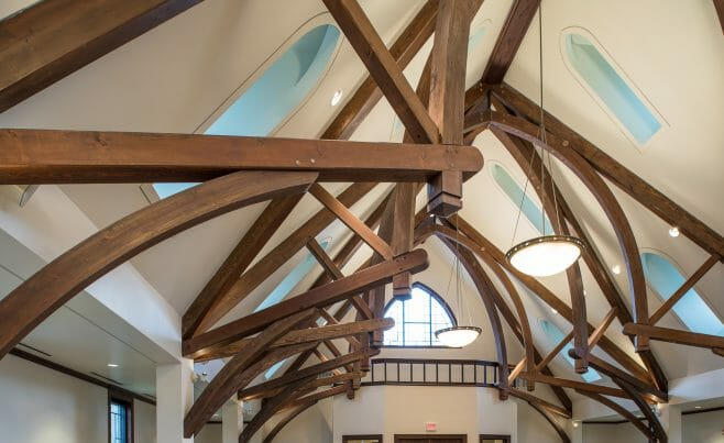 Arched Trusses in Saint Andrews Church in Ridgefield, CT