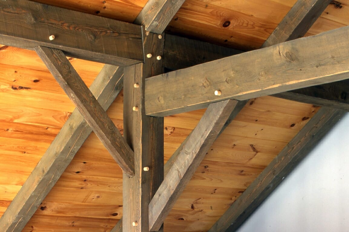 Wood Beam Construction ~ Traditional post beam joinery handcrafted timber