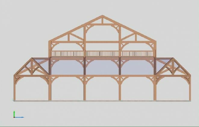 3D Model of a Timber Frame Wedding Pavilion