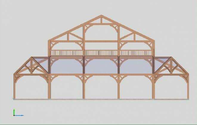 3D Model of a Timber Frame Wedding Pavilion