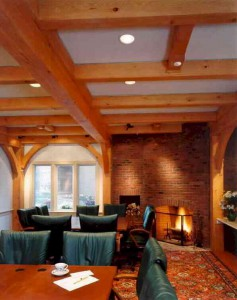 Post-and-beam-Wood-Timber-Ceiling-Brick-Fireplace