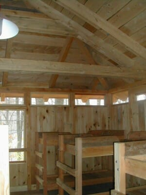 Post and Beam Cabin Interior