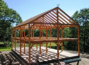 Post and beam construction building with wood for Simple timber frame homes