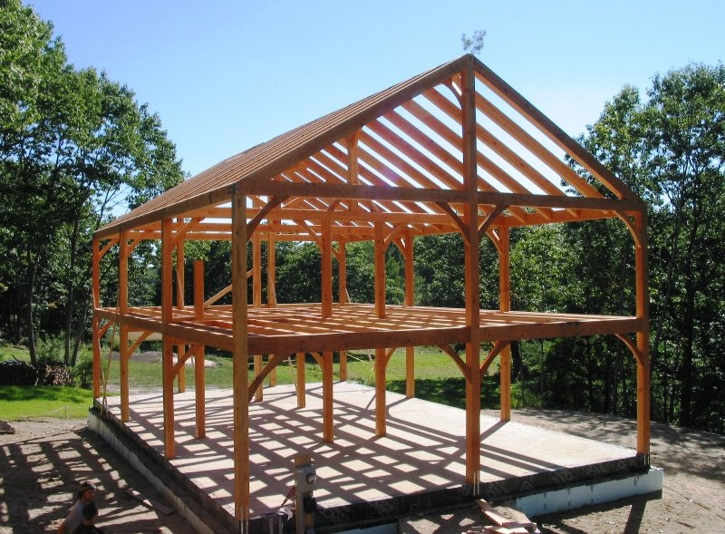Post and beam construction building with wood for Post frame homes plans