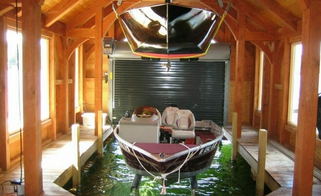 Timber Frame Boathouse Interior