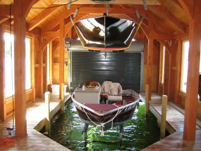 Timber Frame Boathouse Interior