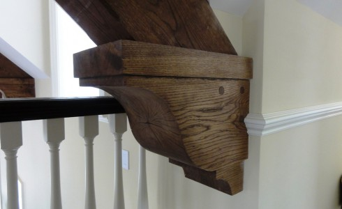 Carved Wood Brace in a Post & Beam Home