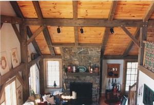 timber-frame-Interior-Stone-Fireplace