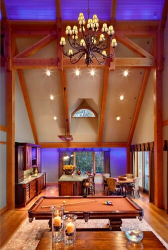 timber girder truss in great room