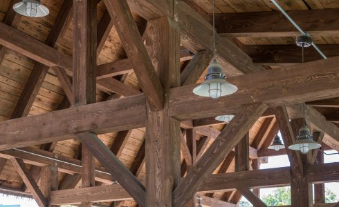 Rough Sawn Timber Details at Six Flags Pavilion