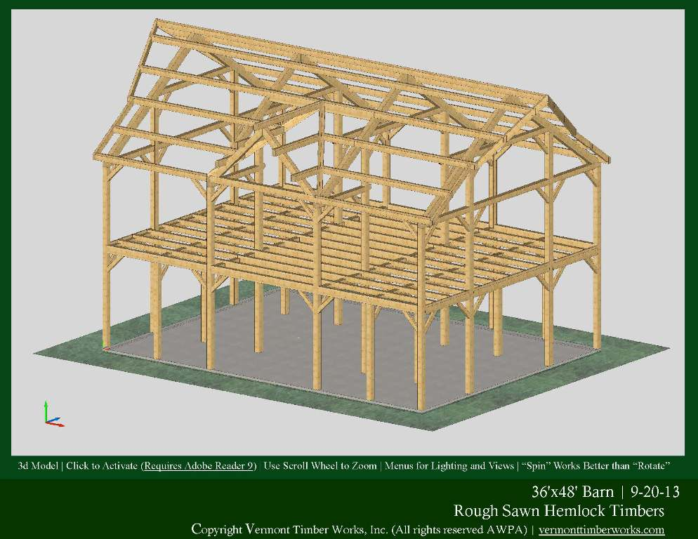 3d models of timber frame barns for Two story barn house plans