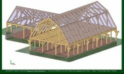 36'x60′ Gambrel with 24'x40′ Wing 3d