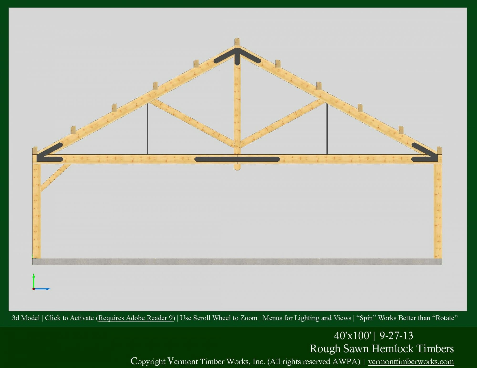 Timber frame homes and barns in 3d pdfs for 40 foot trusses