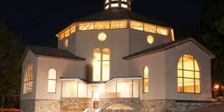 Timber Frame Chapel at Night