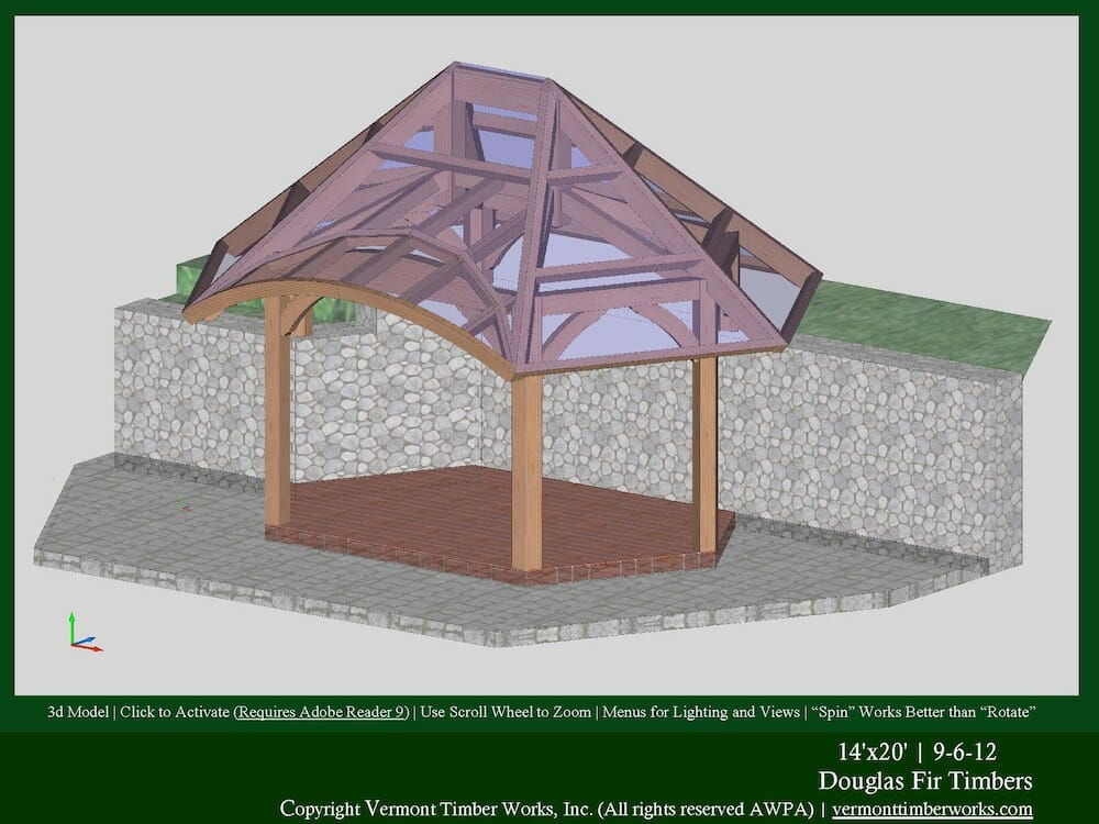 Plans perspectives and elevations of timber pavilions for Hexagonal roof framing