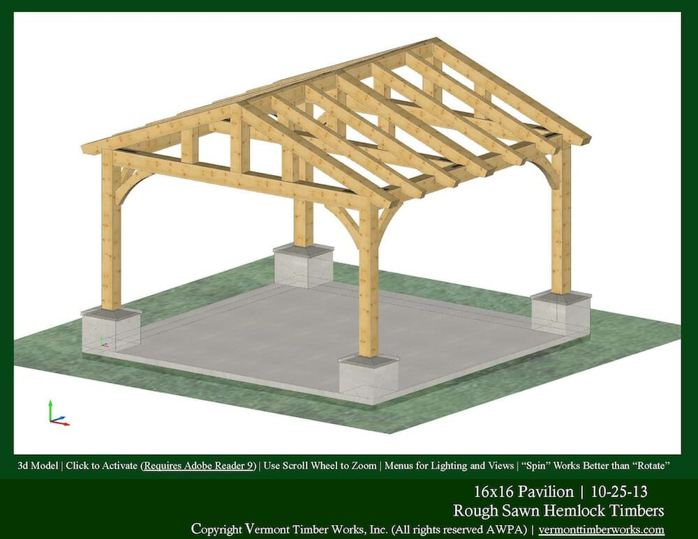 Plans perspectives and elevations of timber pavilions for Timber framing plans