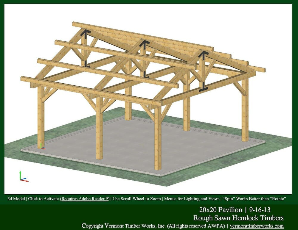 Timber Frame Pavilions - Plans, Perspectives, And Elevations Of Timber Pavilions