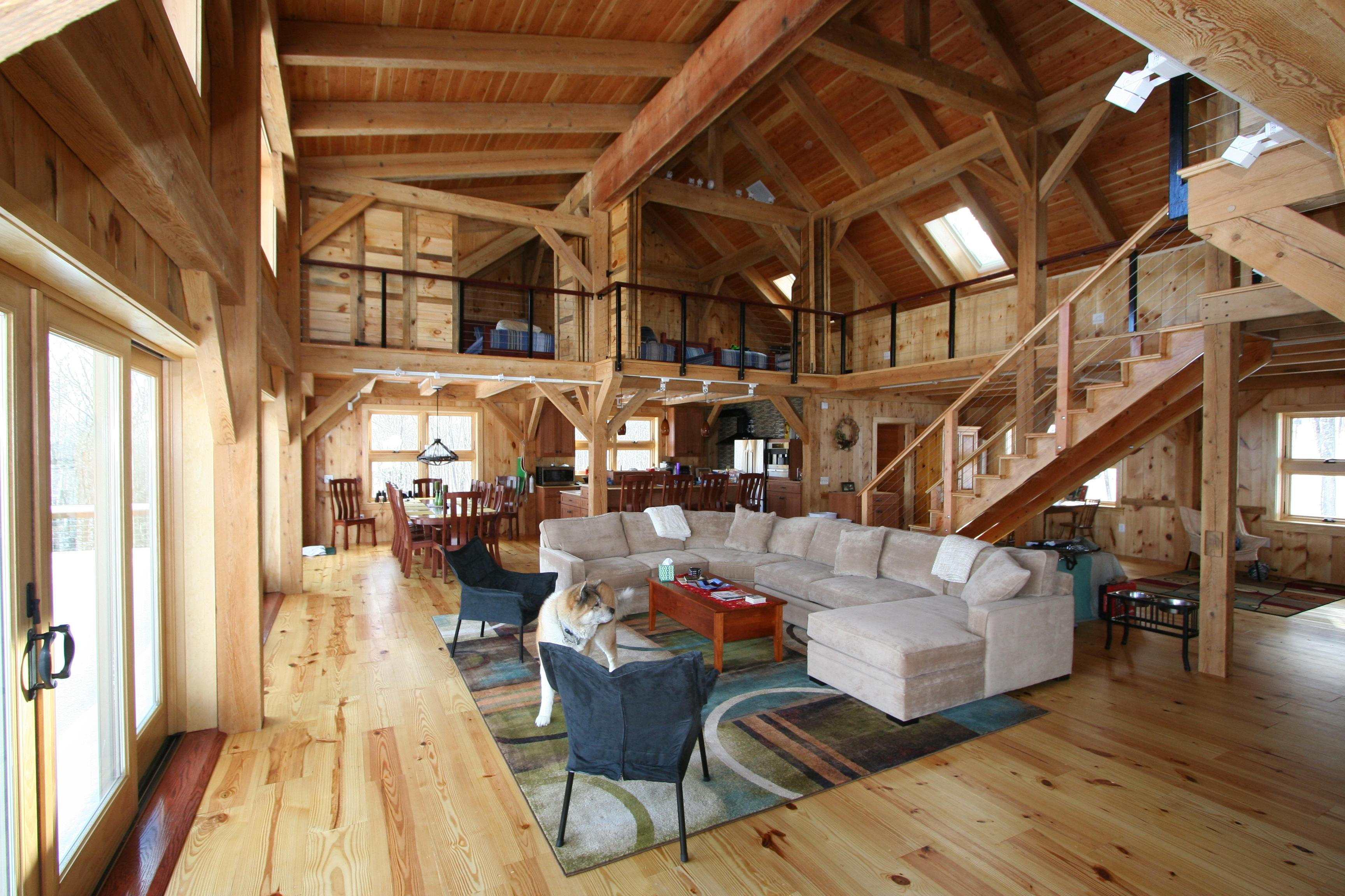 Mortise tenon joined barn timber frame Barn home interiors