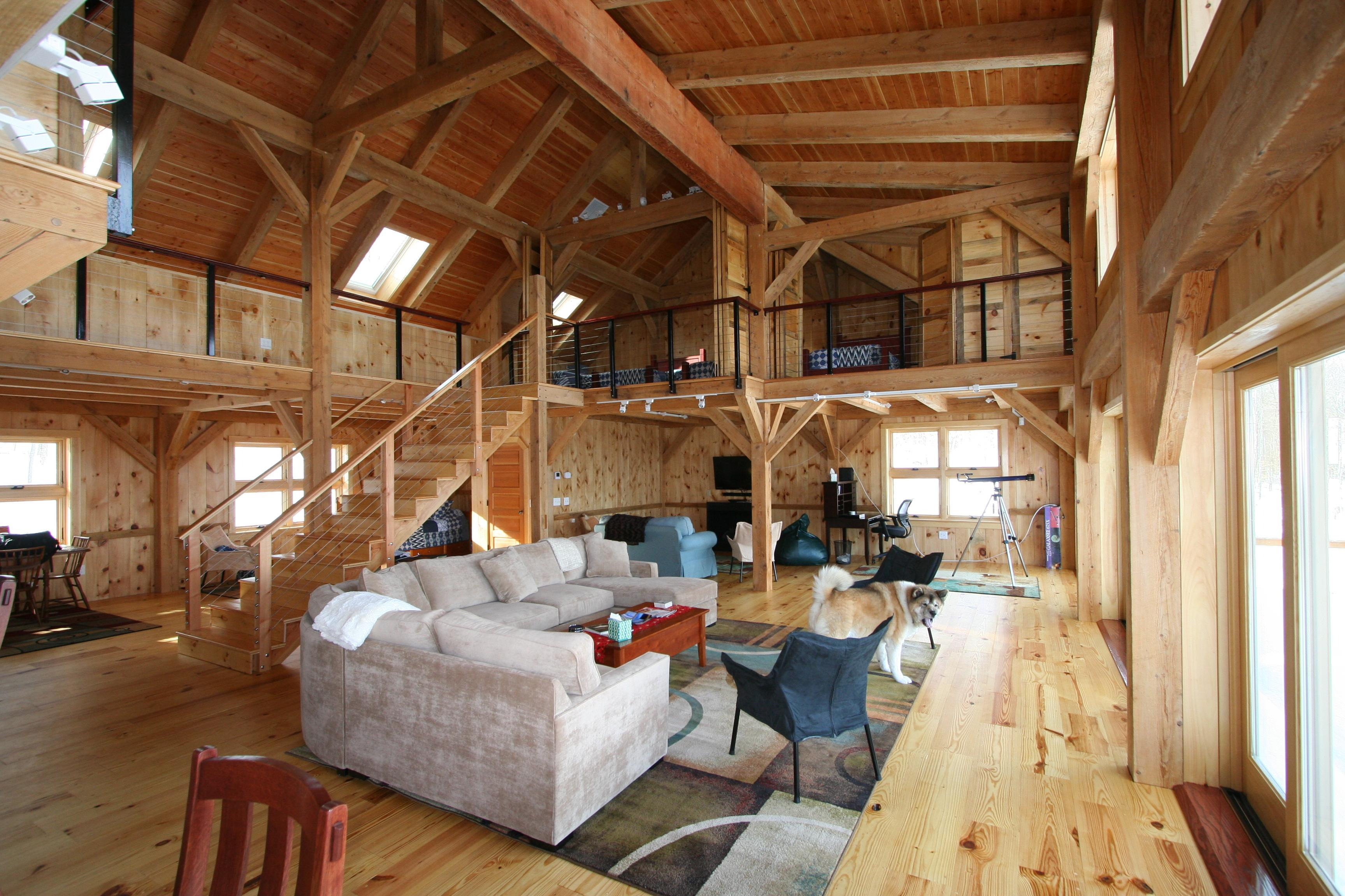 Mortise tenon joined barn timber frame for Timber frame home interiors
