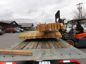 Loading Timbers on Tractor Trailer