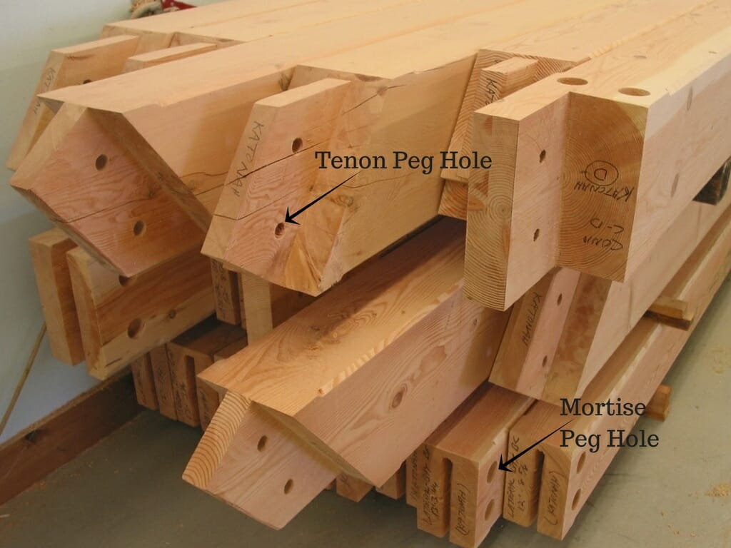 labled mortise tenon peg hole