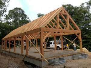 Timber frame ready for decking