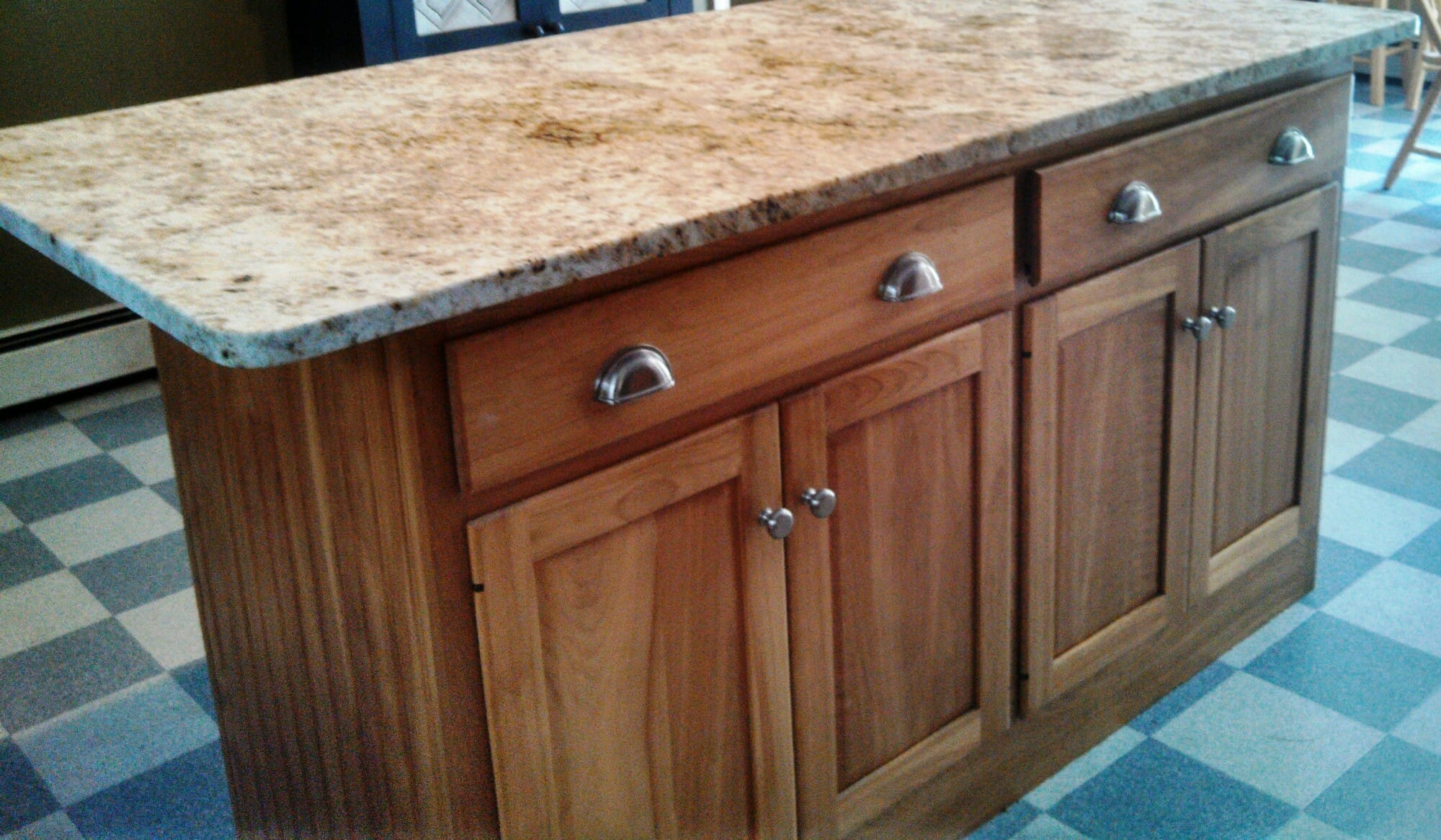 Custom Cabinet in Red Birch with Colonial Gold Granite Top