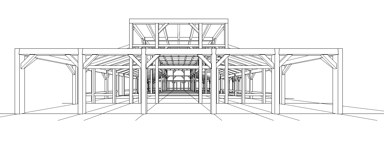 3d side view of timber framing