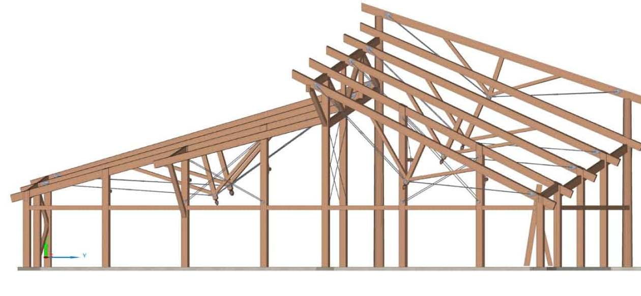 Timber Frame Iso for the Camp Hayden Dining Hall