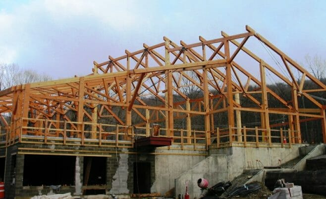 The Timber Frame Under Construction