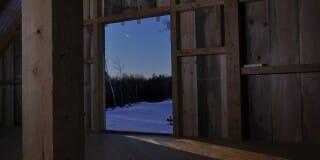 Sun rise through the barn door