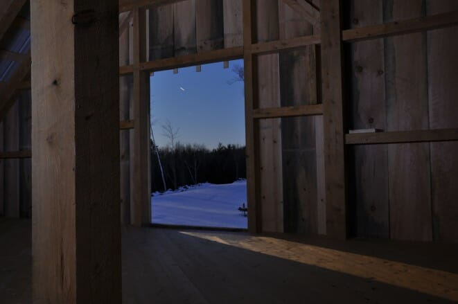 Sun rise through the barn door
