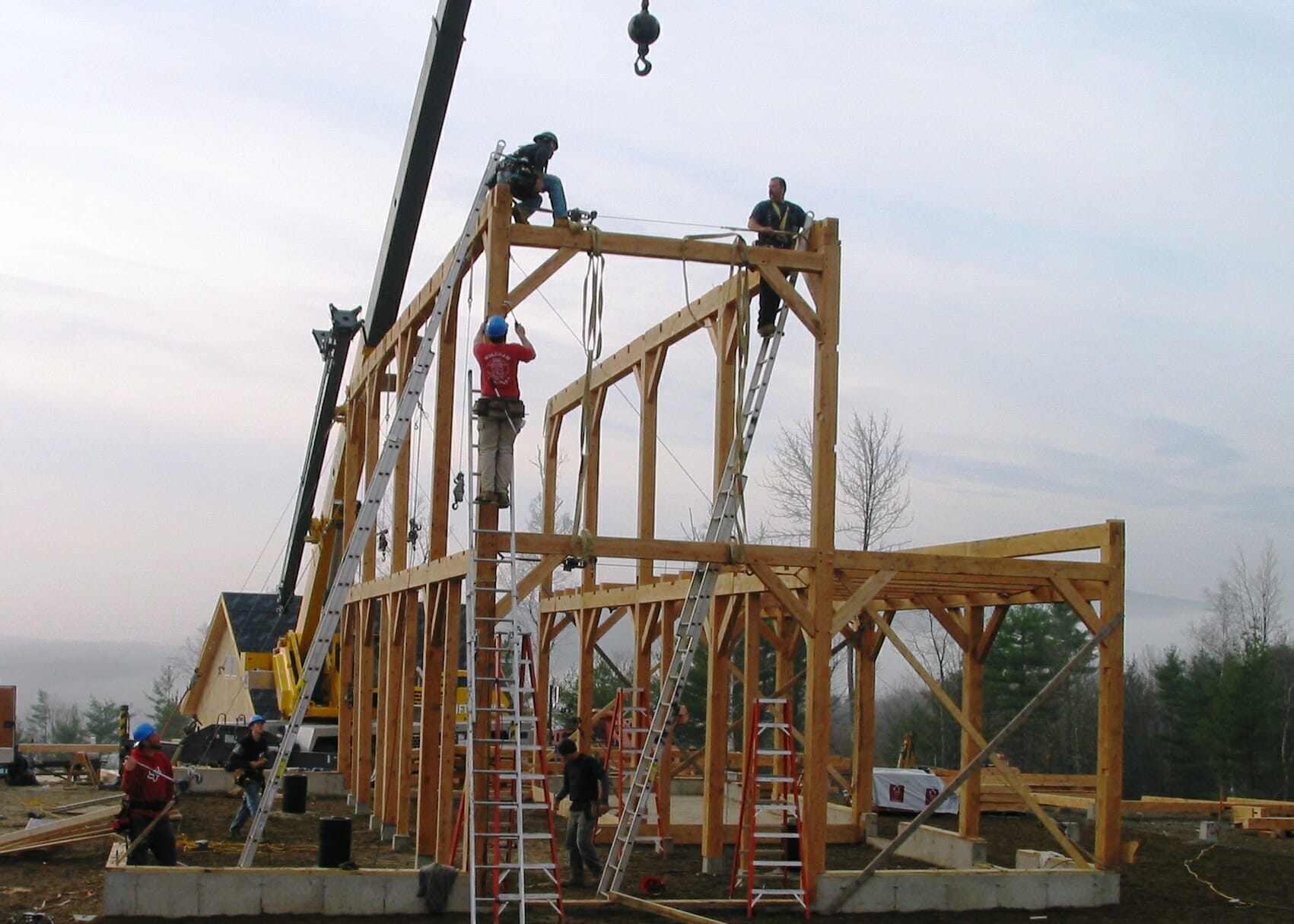 Timber framing raising