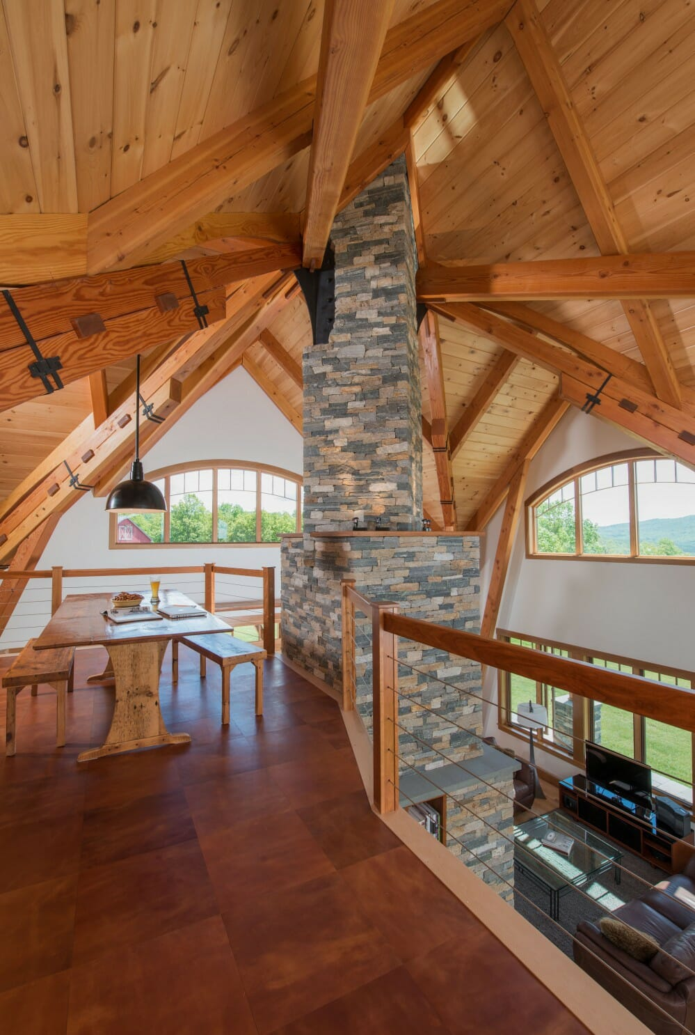 homes-night-pasture-farm-stone-chimney-ceiling-beams
