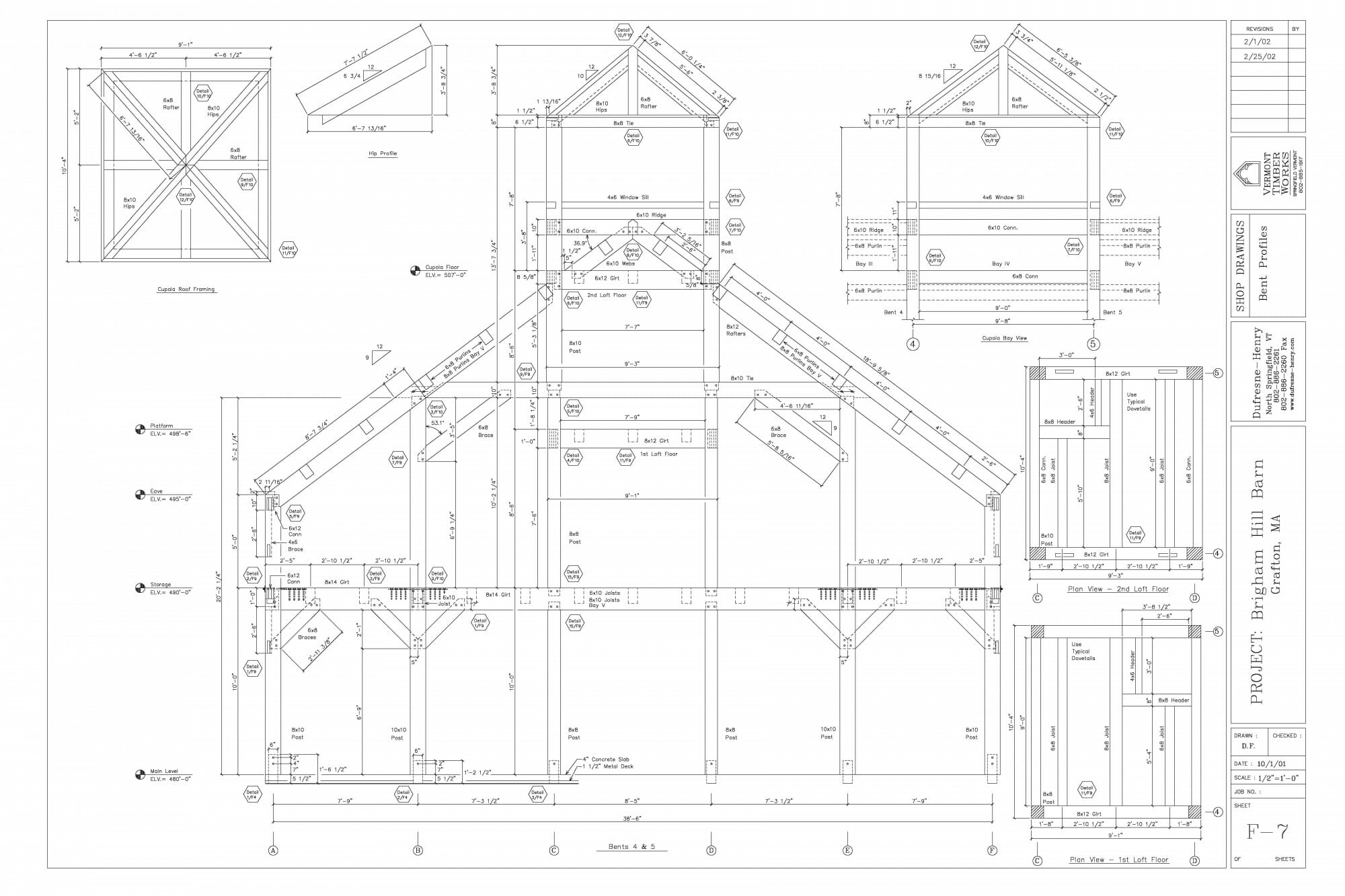 Section view of Bent framing