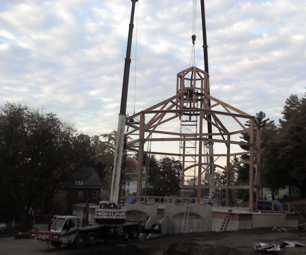 Trusses installed into cupola