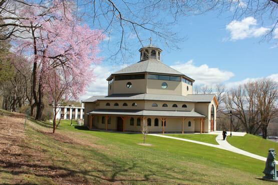 Flowering trees around chapel