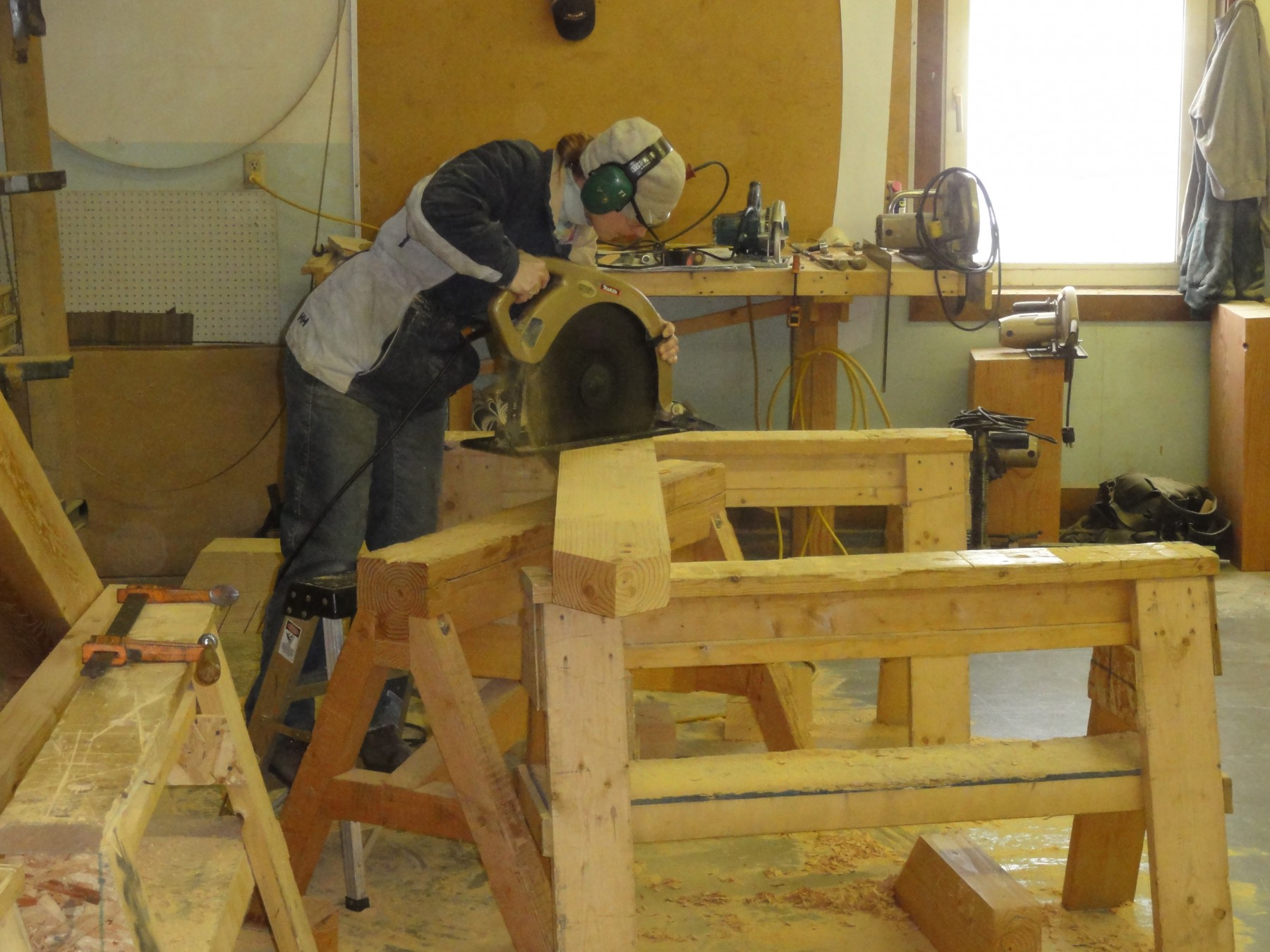 Power tools used in timber framing.
