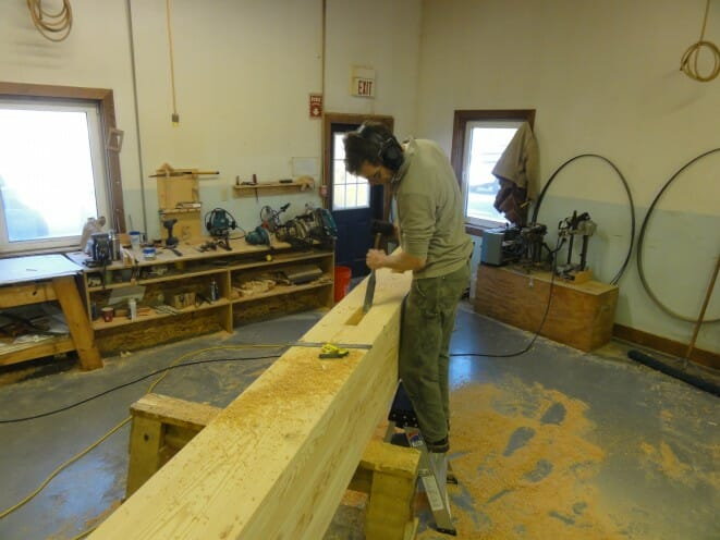 Dan finishing up a mortise cut.