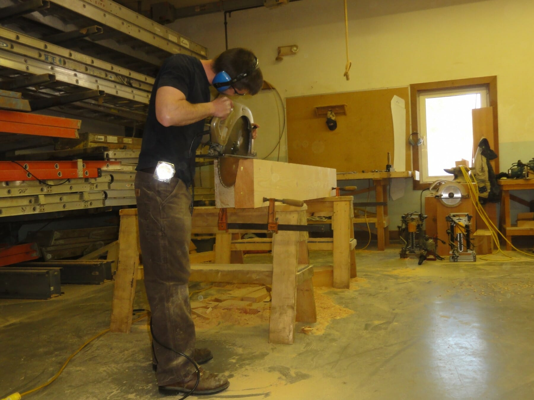 Beam saw for timber framing.
