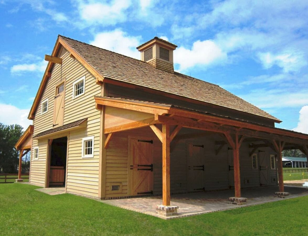 Carolina horse barn handcrafted timber stable for Wood pole barn plans free