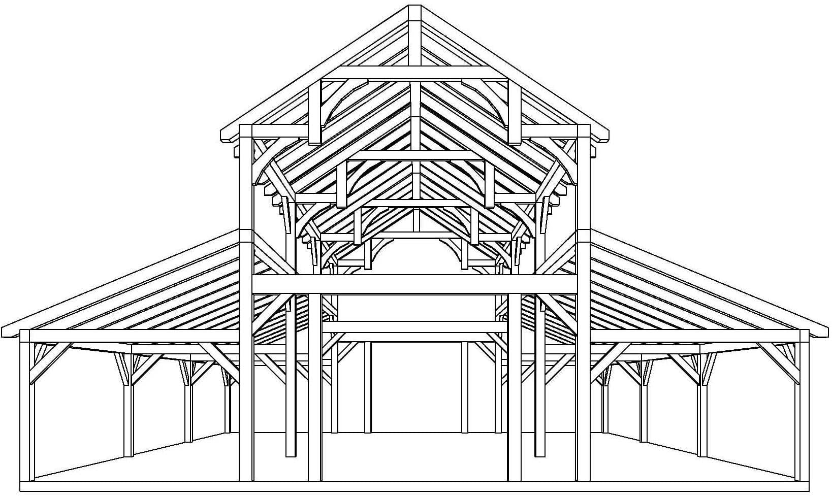 Equipment barn in tx with hemlock frame and curved braces for Plans for a barn