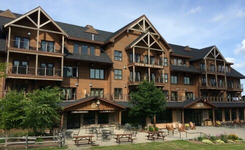 heavy timber construction jay peak completed timber frame exterior