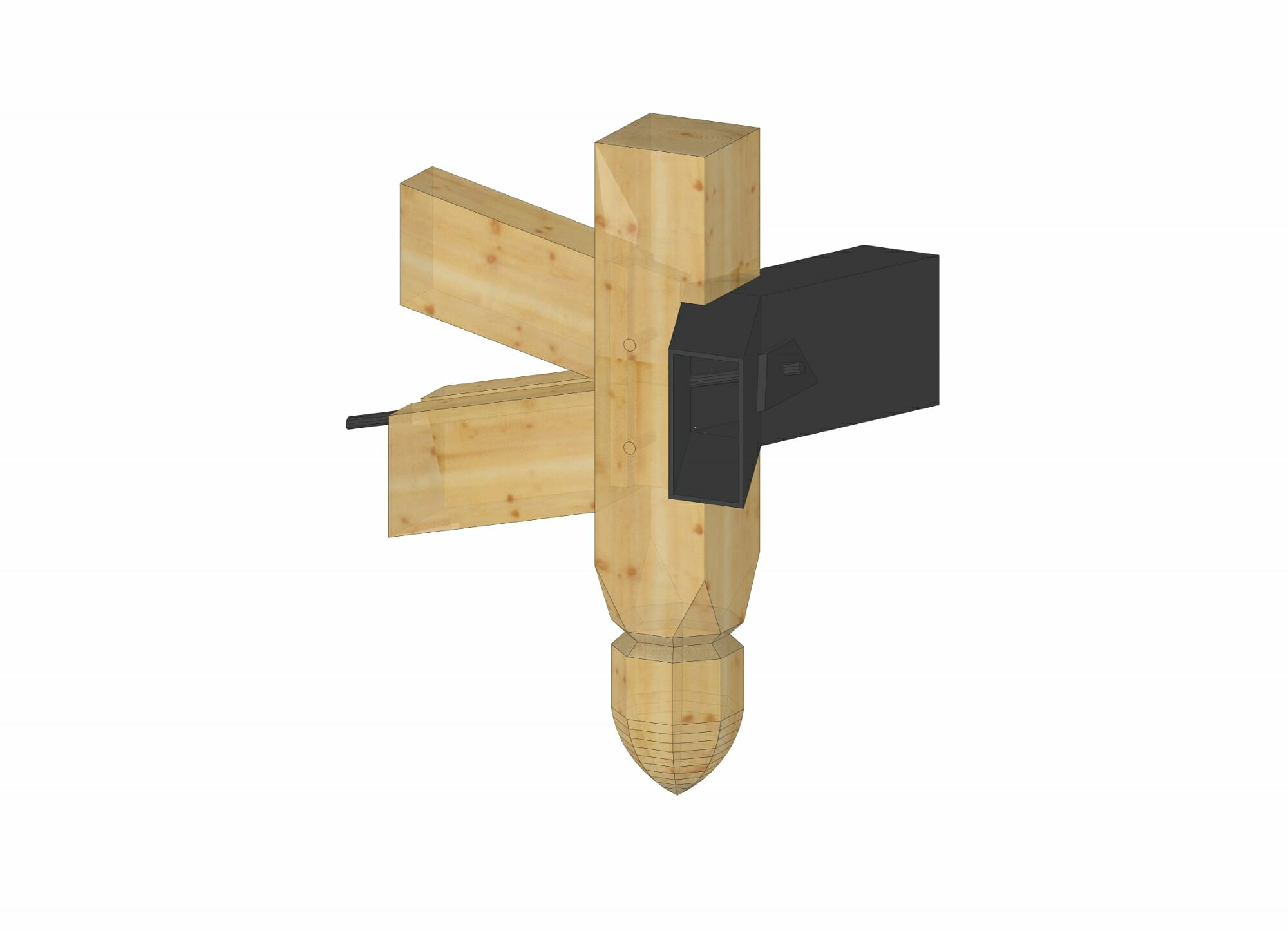 Timber frame joinery with steel connector plates for