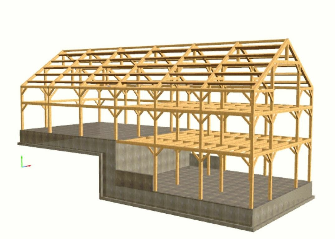 Timber frame design post and beam design for House framing plans
