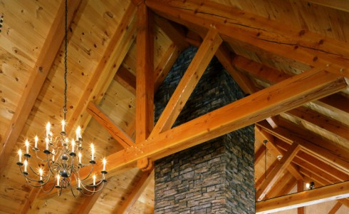 Modified King Post Trusses Visual Height Ceiling Beams