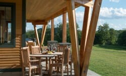 timber frame porch with canted posts