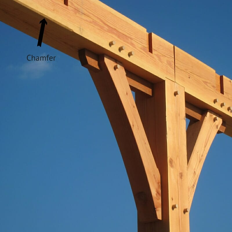 Chamfered timber