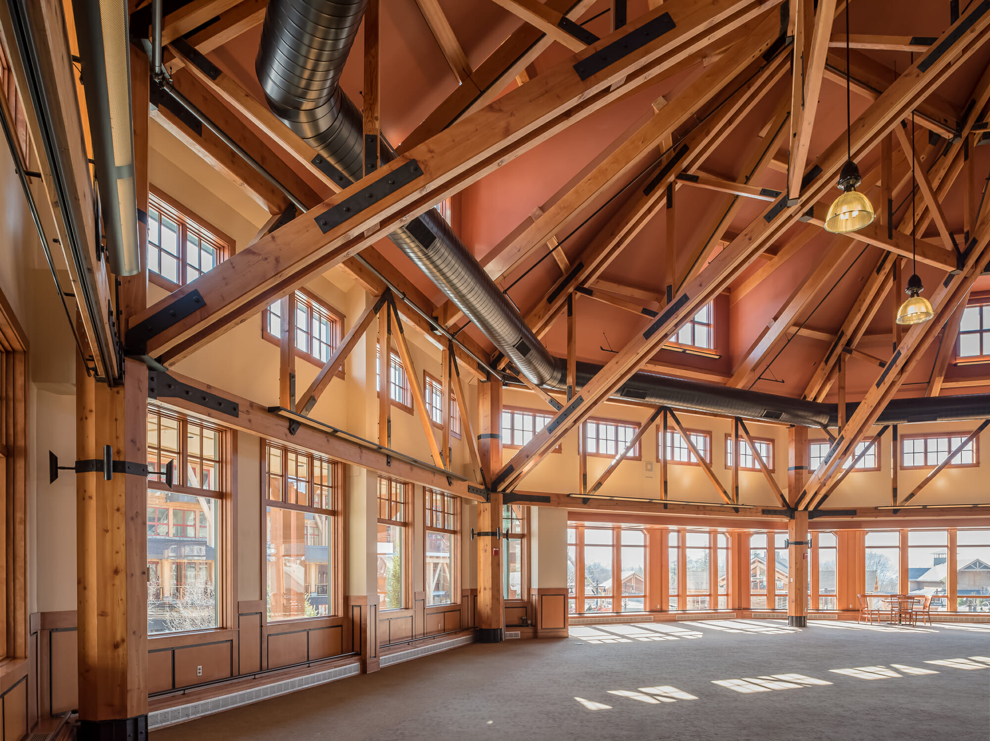 Spruce Peak Base Lodge 80 Octagon Timber Frame
