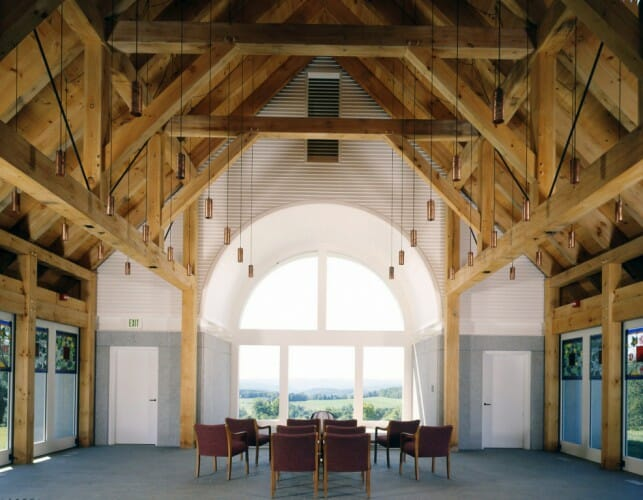 chapel with timber trusses